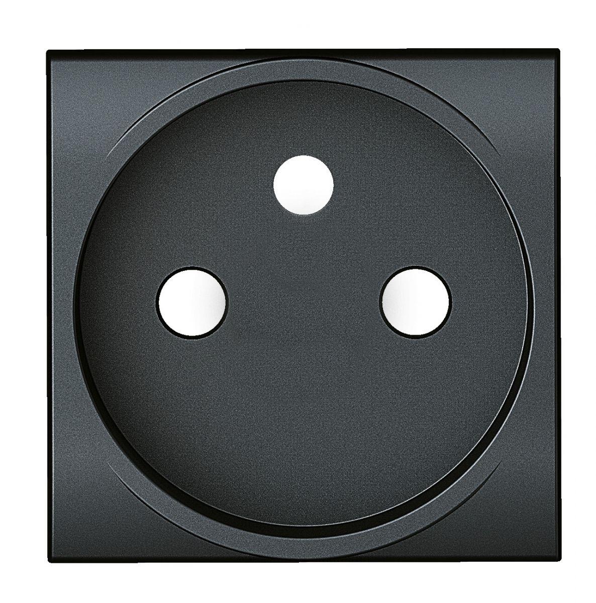 sierplaatje voor stopcontact (schroefloos plaatje), voor contactdoos 2P+A, clipsbaar antraciet