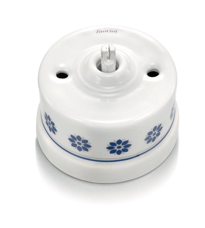 Fontini Garby schakelaar enkelpolig porselein decoratie blauw