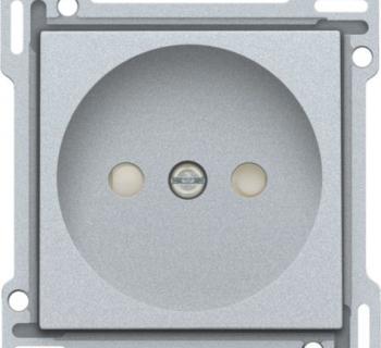 Niko Afwerkingsset voor stopcontact zonder aarding met kinderveiligheid, Silver