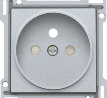 Niko Afwerkingsset voor stopcontact met penaarde en kinderveiligheid, inbouwdiepte 21mm, Silver
