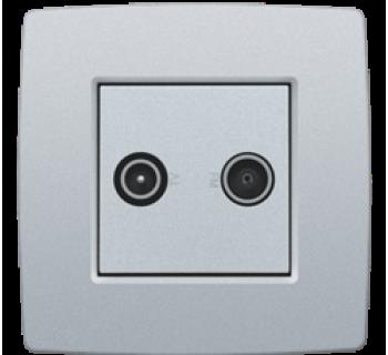 Niko Afwerkingsset voor enkelvoudige of meervoudige coaxaansluiting voor tv en FM Telenet Interkabel, Silver