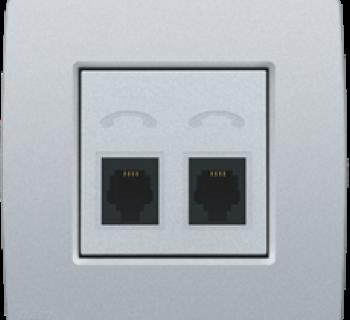 Niko Afwerkingsset voor telefooncontactdoos met 2 RJ11-contacten in parallel, Silver